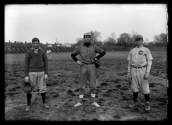 Three baseball players: Reese, catcher, Miller, catcher, Gower, catcher