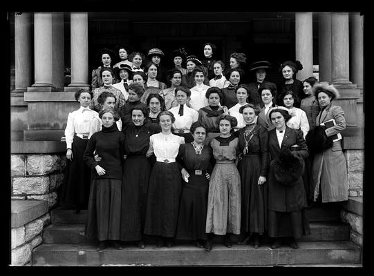 Young Women's Christian Association (YWCA) on steps of Patterson Hall