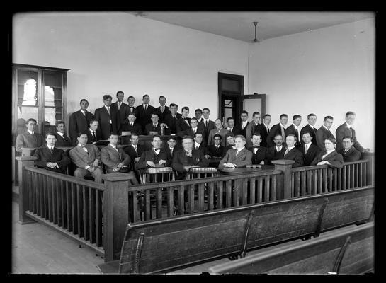 Henry Clay Law Society in practice court room, Judge Chalkley second from left rear