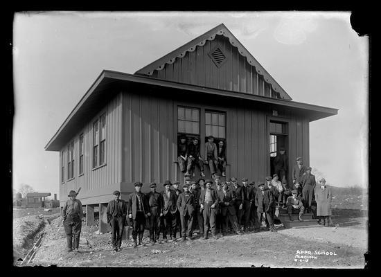 Railroad Apprentice School, outside building, some in windows, Ferguson