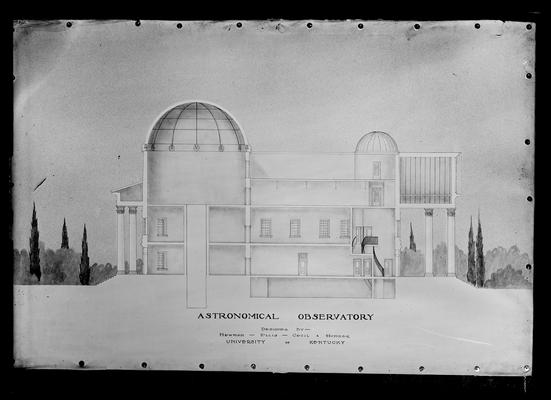 Architects drawing of astronomical observatory by Newman, Ellis, Cecil, and Humber