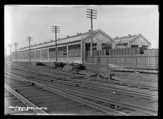 Chattanooga, new coach shed with coal cars