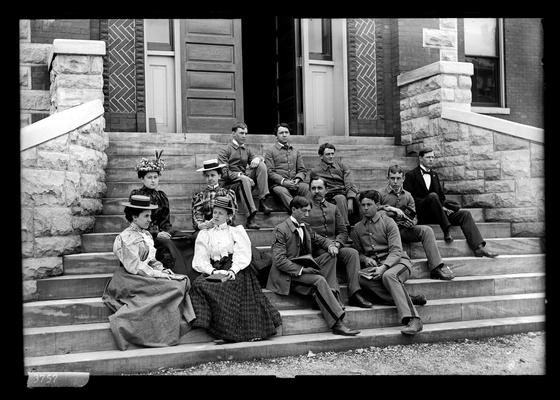 Notation Sophomore class in Botany, May 1898 seated on steps of Science Building (Miller Hall?)
