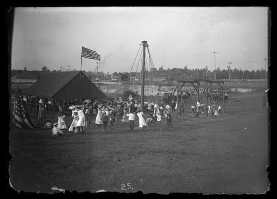 Celebration Day program, towards west, flag lowered on the ground