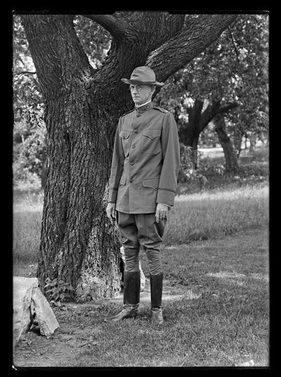 Dr. Van Meter in army uniform by tree