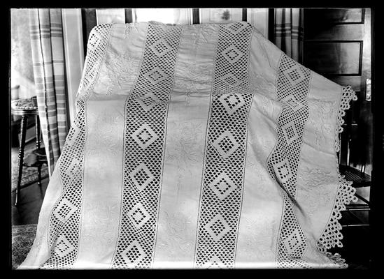 Bedspread, embroidered & crocheted