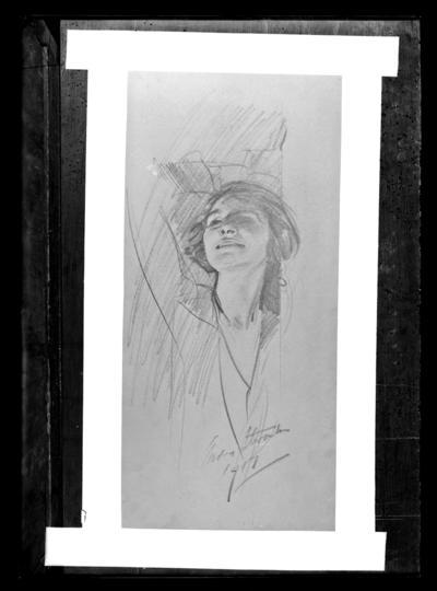 Copy, sketch of girl, signed