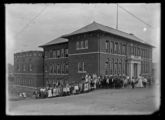 Lincoln School, students at side and front of building, for Mrs. Breckinridge