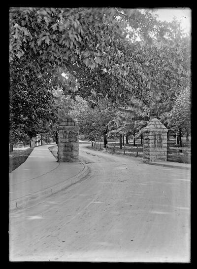 Entrance to University of Kentucky, stone pillars