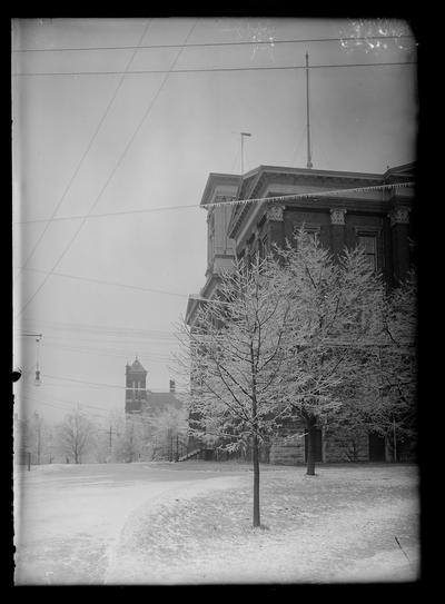 Sleet, tree, side of Administration Building (Main Building), looking north