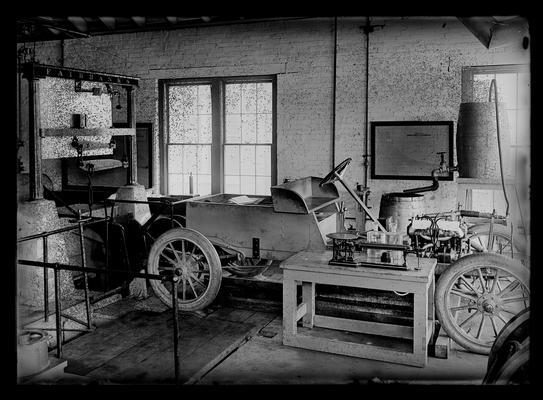 Testing Marathon (car) chassis, auto laboratory, side view