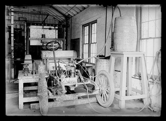 Testing Marathon (car) chassis, auto laboratory, front view