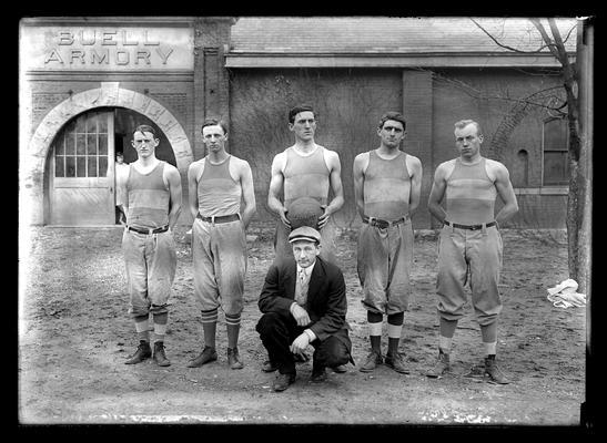 Basketball team, Barnett, Preston, Harrison, Hart, Geiser, Champions of South, manager Meadors