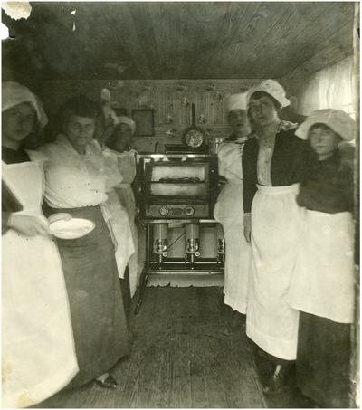 Cave Spring students, Rose Wurtele and Nannie Faulconer (1865?-1940) stand before and oven in the school kitchen. Handwritten on verso of 12b Cave Spring. Hot lunch in a coal house kitchen. Miss Rose Wurtele. (Three copies)