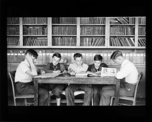 Junior High school students in library