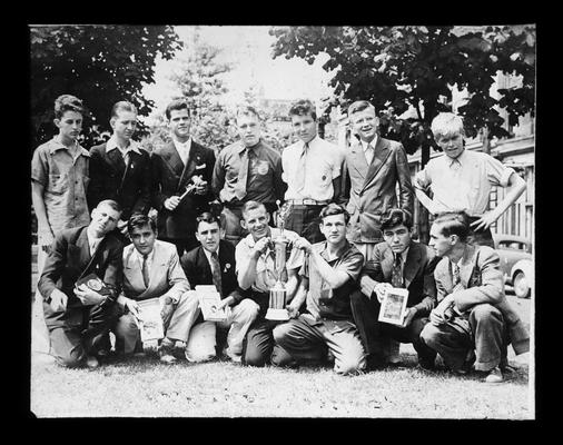 Group portrait of state-winning Fayette County Future Farmers of America (F.F.A.) Chapter in 1940
