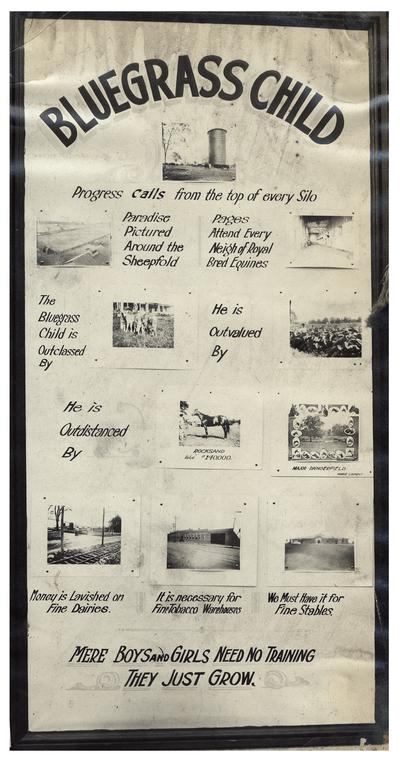 Nannie Faulconer (1865?-1940) standing beside the Bluegrass Child: Progress calls from the top of every silo poster. Handwriting on verso. (Four copies)