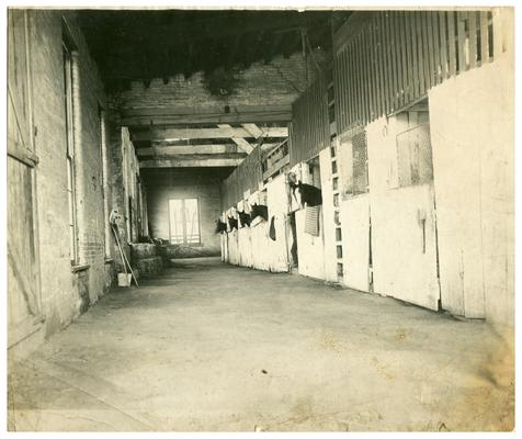 Image of the horse stable used in the Bluegrass Child poster. Handwritten on verso, Ashland stable of J.C. McDowell