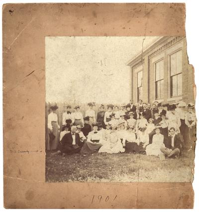 Group portrait of the graduating class of 1901 with M.A. Cassidy