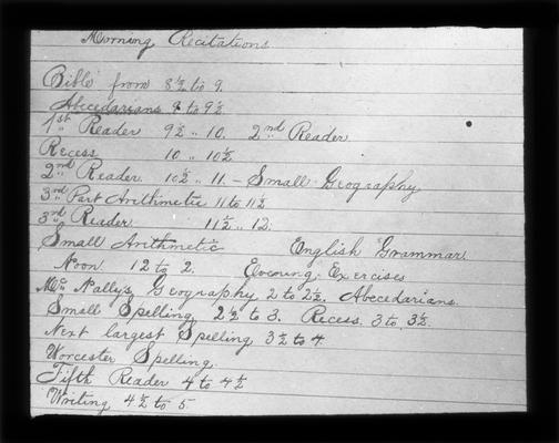 Daily schedule for Fort Springs School, Miss Buena Vista Patterson, teacher