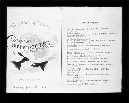 Program from the Fayette County School's Commencement exercises