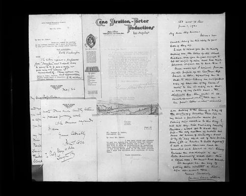 Replies from Gene Stratton Porter, Zane Grey, James Lane Allen, Irvin S. Cobb, and Booth Tarkington to request, from students, for autographed copies of their books for the library