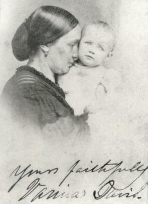 Woman with infant; handwritten in ink on the front