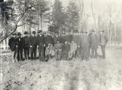 National Foxhunters Association - group photo; Leeland Hathaway, seated, center