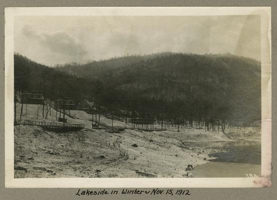 Title handwritten on photograph mounting: Lakeside in Winter