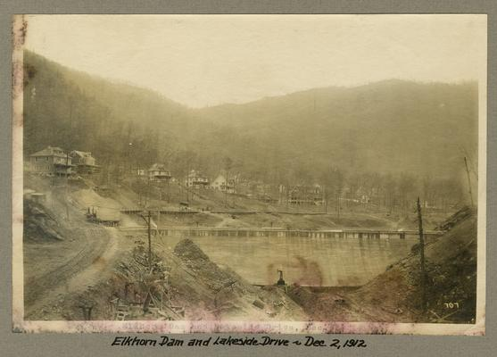 Title handwritten on photograph mounting: Elkhorn Dam and Lakeside Drive