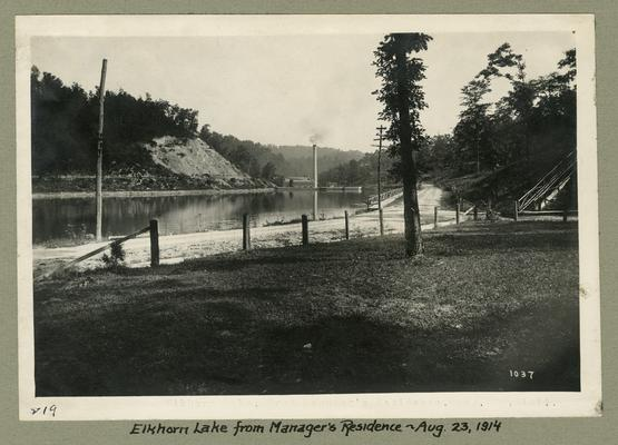 Title handwritten on photograph mounting: Elkhorn Lake from Manager's Residence
