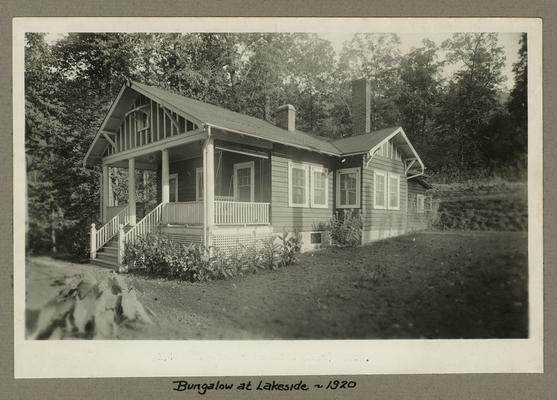 Title handwritten on photograph mounting: Bungalow at Lakeside
