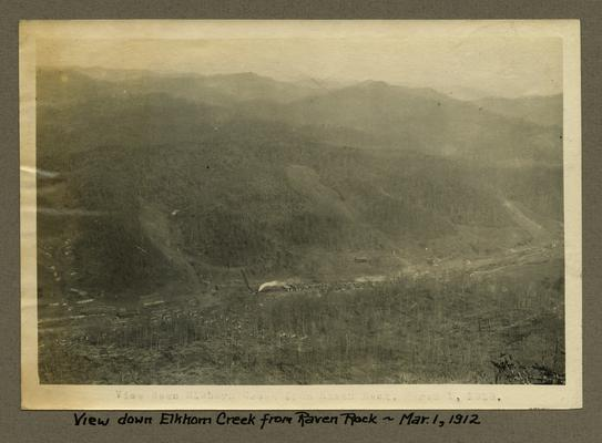 Title handwritten on photograph mounting: View down Elkhorn Creek from Raven Rock