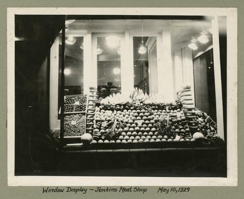 Title handwritten on photograph mounting: Window Display, Jenkins Meat Shop