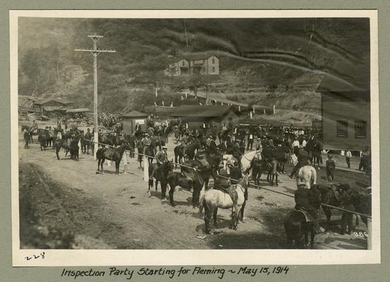 Title handwritten on photograph mounting: Inspection Party Starting for Fleming