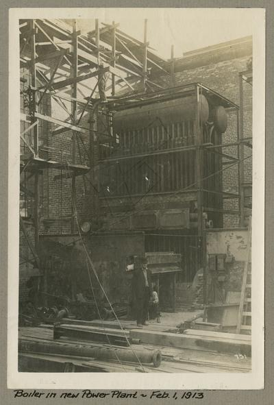 Title handwritten on photograph mounting: Boiler in New Power Plant