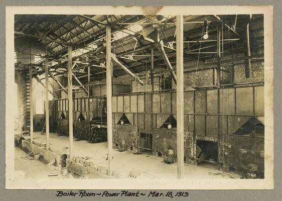 Title handwritten on photograph mounting: Boiler Room--Power Plant