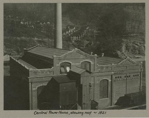 Title handwritten on photograph mounting: Central Power House, showing roof
