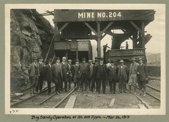Title handwritten on photograph mounting: Big Sandy Operators at No. 204 Tipple