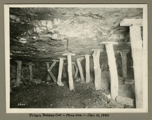 Title handwritten on photograph mounting: Pillars Robbed Out in No. 206 Mine