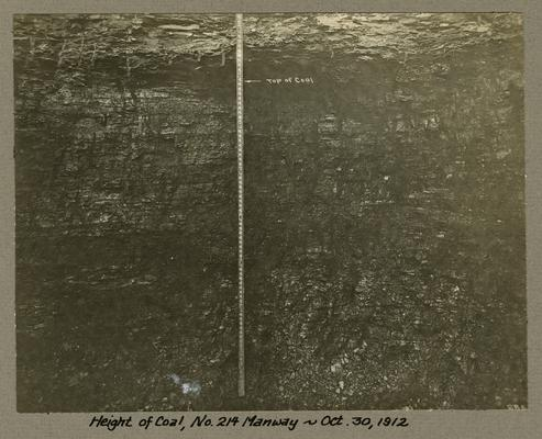 Title handwritten on photograph mounting: Height of Coal, No. 214 Manway