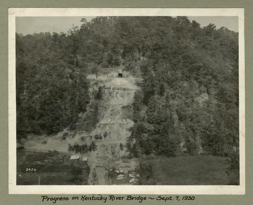 Title handwritten on photograph mounting: Progress on Kentucky River Bridge