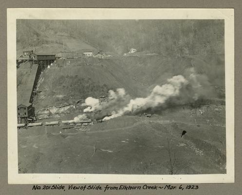 Title handwritten on photograph mounting: No. 201 Slide, view of slide from Elkhorn Creek