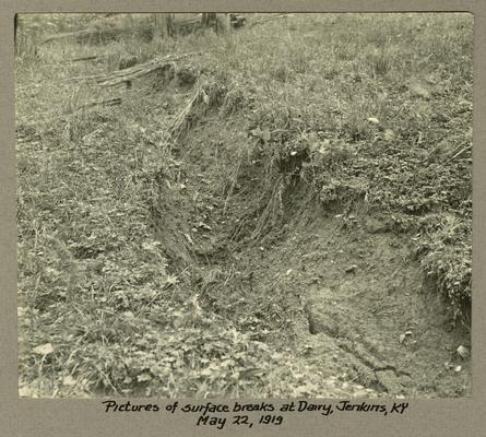 Title handwritten on photograph mounting: Pictures of surface breaks at Dairy--Jenkins, Kentucky
