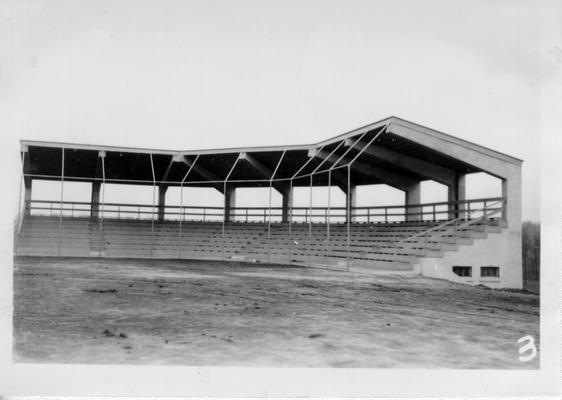 Completed concrete grandstand at Madisonville City Park (front view)