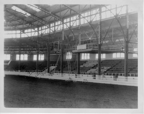 Interior of Horse Show Pavilion at State Fairgrounds painted by WPA