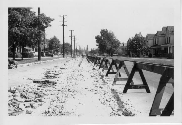 Car rail removal on West Broadway, 1942-1943