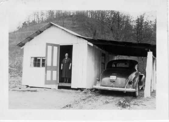 Mrs. Short, certified Packhorse Library worker, standing in doorway, 1941