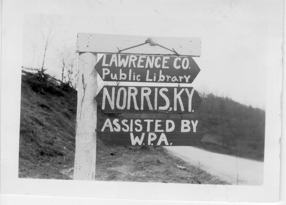 Sign at Norris Packhorse Library project, 1941