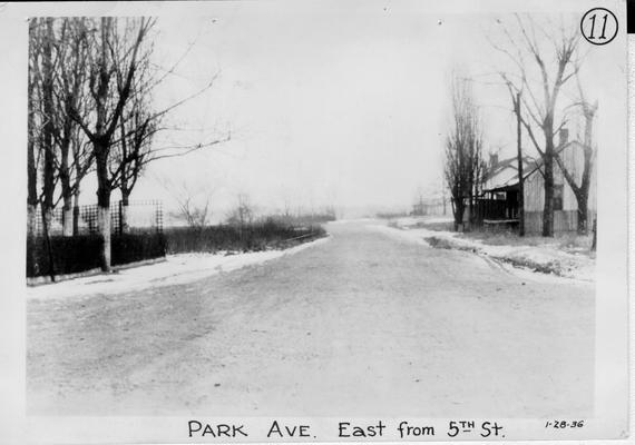 View of land prior to construction of Barkley Park in Paducah. Park Avenue east from 5th Street, January 28, 1936